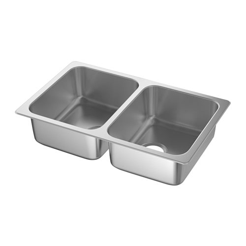 Inset Bathroom Sink Bowl : HILLESJ?N Inset sink, 2 bowls IKEA 25 year guarantee. Read about the ...