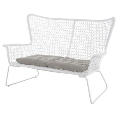 HÖGSTEN 2-seat modular sofa, outdoor, white/Kuddarna grey, 146 cm