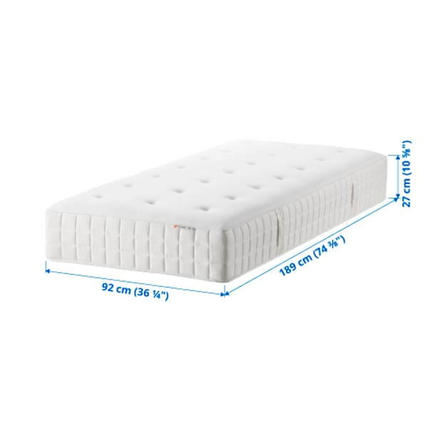 HYLLESTAD Pocket sprung mattress, medium firm/white, Single