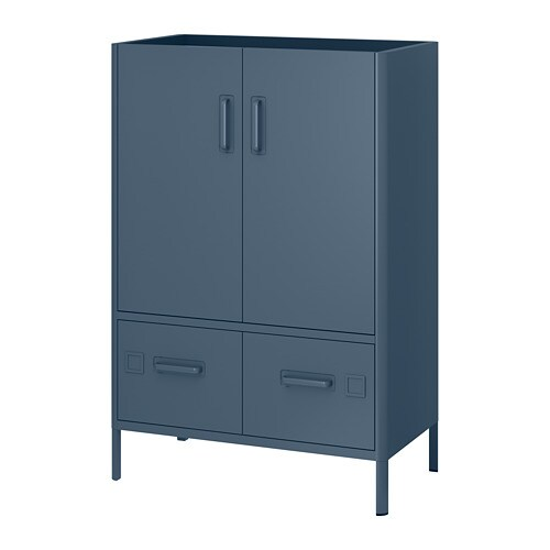 idÅsen - cabinet with doors and drawers, blue