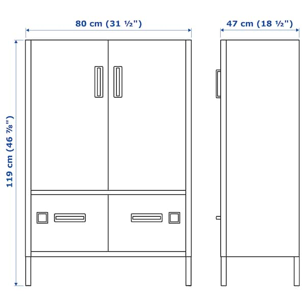 IDÅSEN Cabinet with doors and drawers, blue, 80x47x119 cm