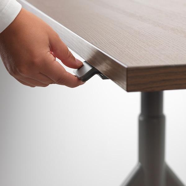 IDÅSEN Desk sit/stand, brown/dark grey, 160x80 cm