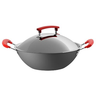 IDENTISK Wok with lid, dark grey/aluminium, 32 cm