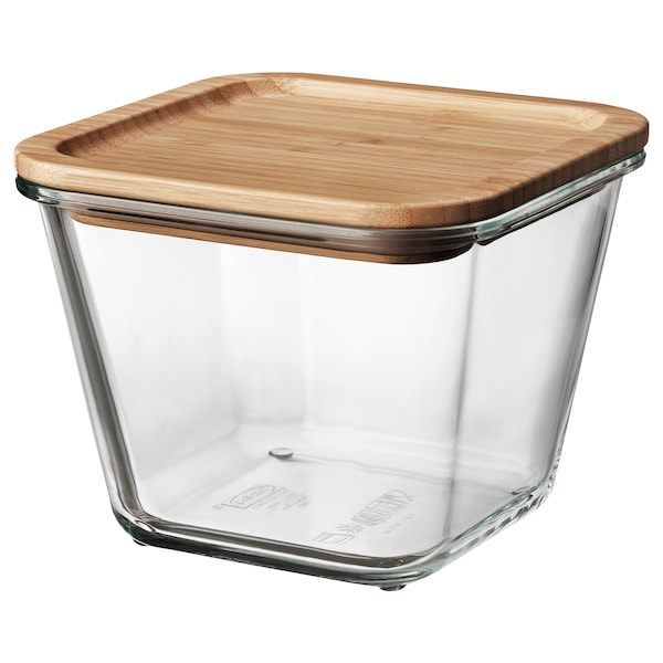 IKEA 365+ food container with lid square glass/bamboo 15 cm 15 cm 12 cm 1.2 l