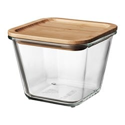 IKEA 365+ food container with lid, square glass, bamboo glass