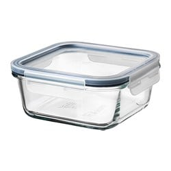 IKEA 365+ food container with lid, square glass, plastic glass