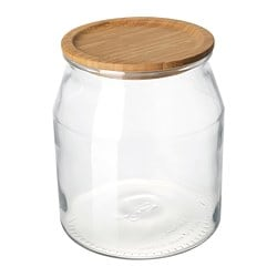 IKEA 365+ jar with lid, glass, bamboo