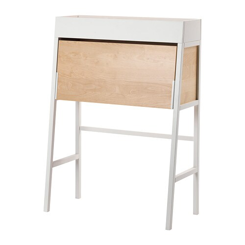 Ikea ps 2014 bureau white birch veneer ikea for Bureau en pin ikea