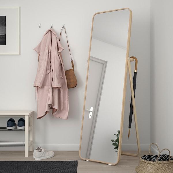 IKORNNES Standing mirror, ash, 52x167 cm