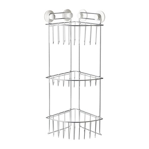 IMMELN Shower corner shelf, three tiers IKEA With suction cups that grip smooth surfaces.
