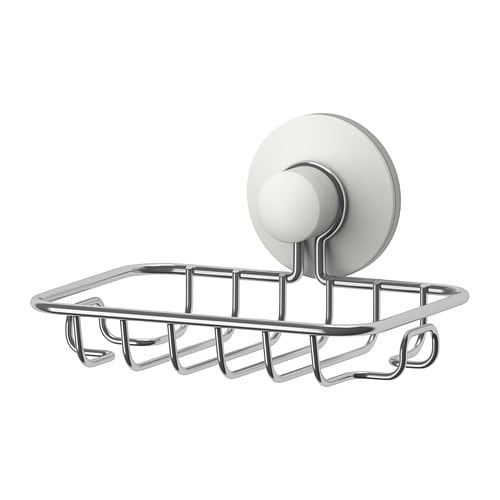 IMMELN Soap dish IKEA With a suction cup that grips smooth surfaces.  Made of zinc-plated steel which is durable and rust resistant.