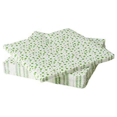 INBJUDEN Paper napkin, white/green, 33x33 cm