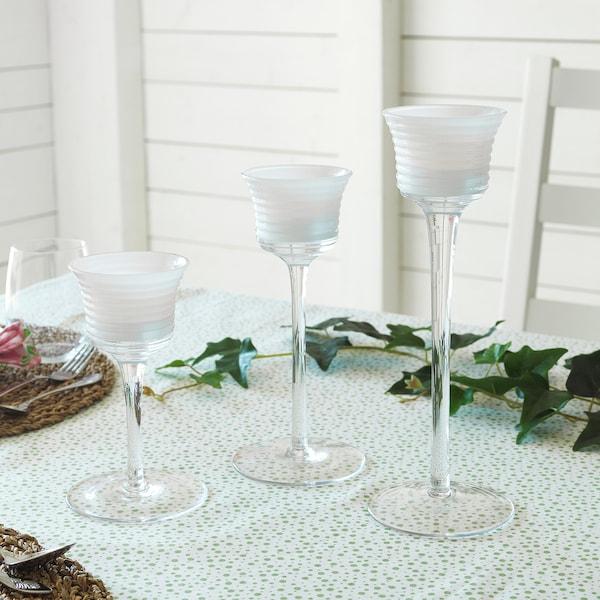 INBJUDEN Tealight holder, set of 3, clear glass/glass white