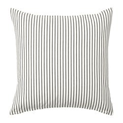 INGALILL cushion cover, white, dark grey striped
