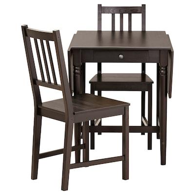 INGATORP / STEFAN table and 2 chairs black-brown/brown-black 155 cm 74 cm 65 cm