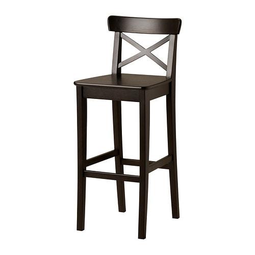 Ingolf Bar Stool With Backrest 74 Cm Ikea