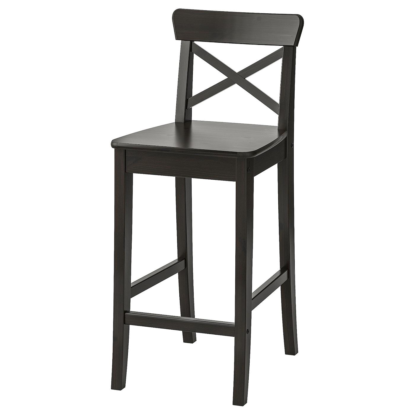INGOLF Bar stool with backrest   brown black 9 cm