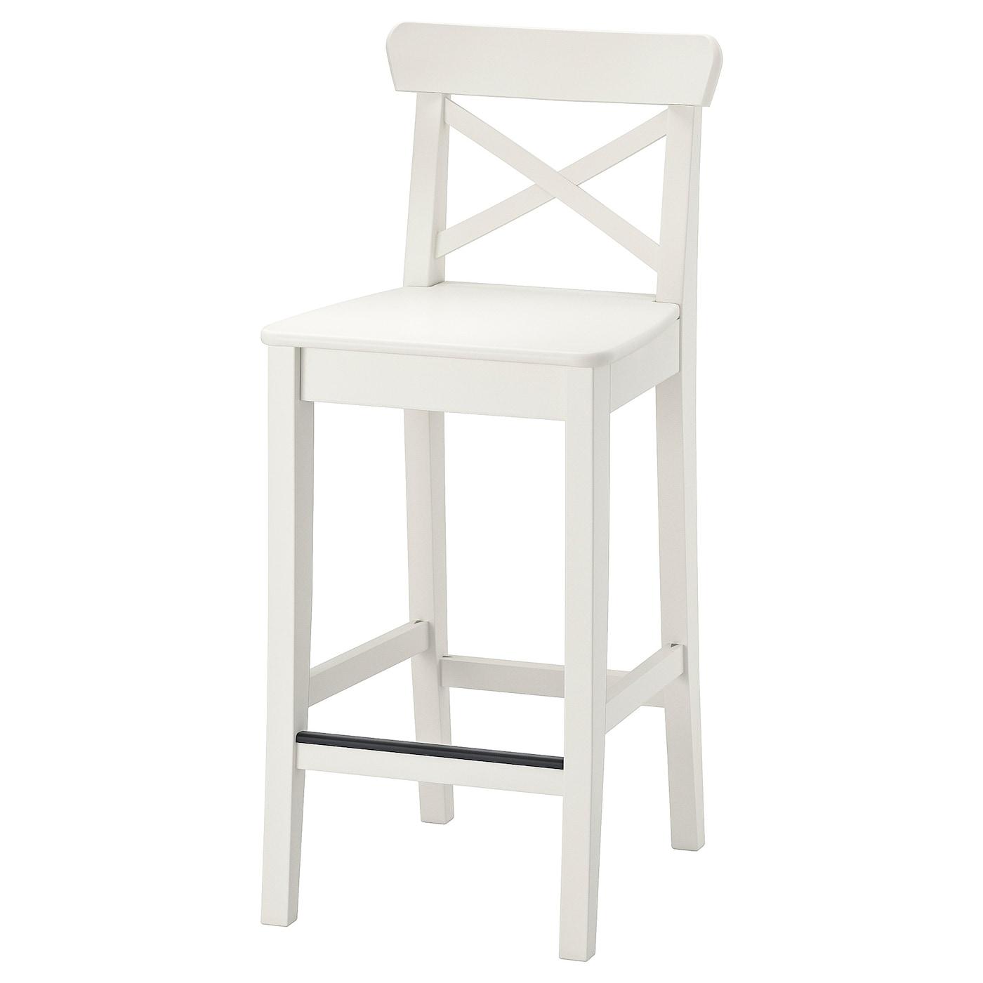 INGOLF Bar stool with backrest   white 9 cm