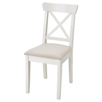 INGOLF Chair, white/Hallarp beige
