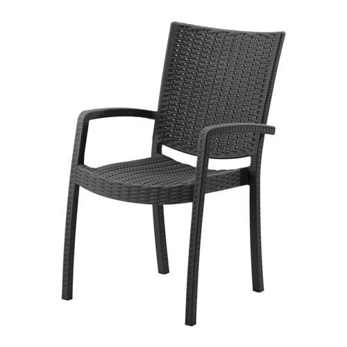 INNAMO Chair With Armrests Outdoor Dark Grey IKEA