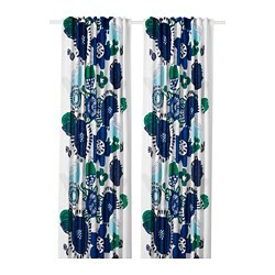 IRMELIN curtains, 1 pair, white, multicolour