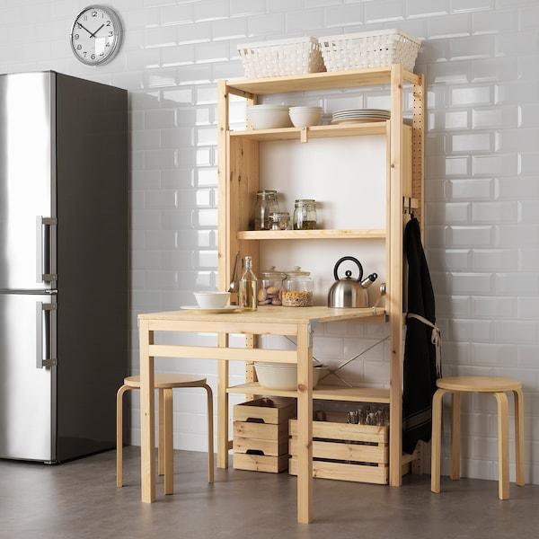IVAR 1 sec/storage unit w foldable table, 89x30-104x179 cm