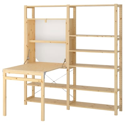 IVAR 2 sec/storage unit w foldable table, pine, 175x30-104x179 cm