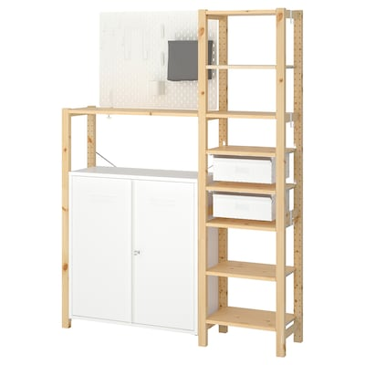 IVAR 2 sections/shelves/cabinet, pine/white, 134x30x179 cm