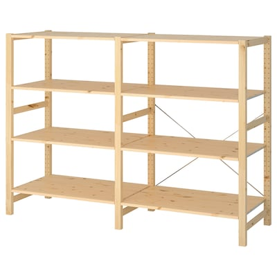 IVAR 2 sections/shelves, pine, 174x50x124 cm