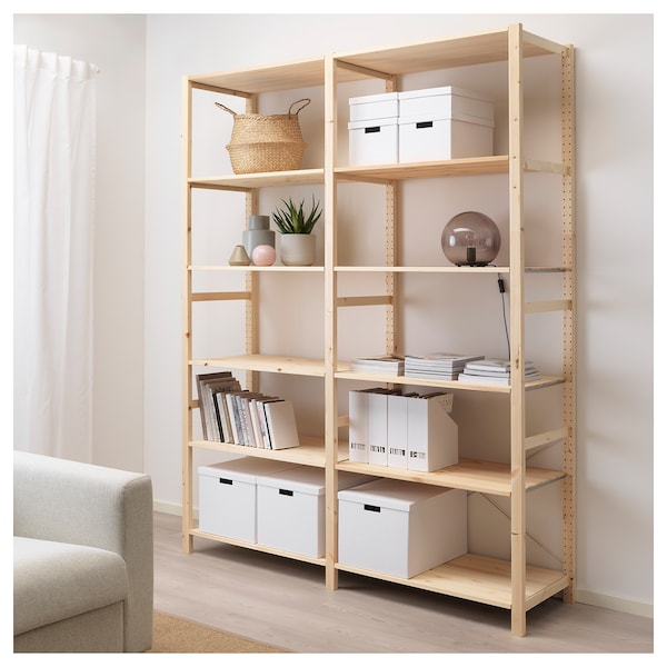 IVAR 2 sections/shelves, pine, 174x50x226 cm