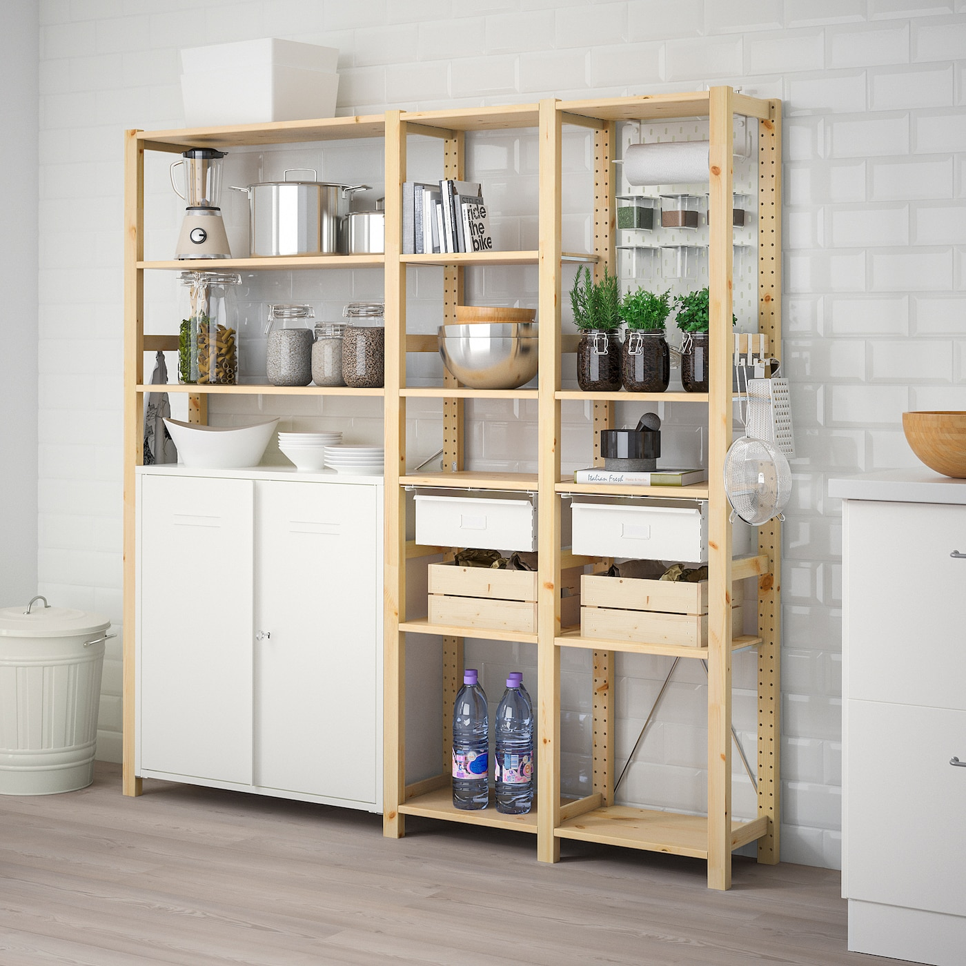 IVAR 3 sections/cabinet/shelves, pine, white - Add to cart ...