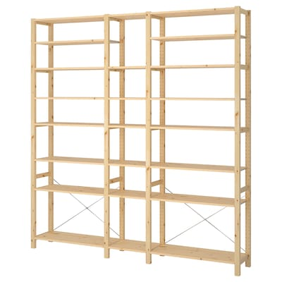 IVAR 3 sections/shelves, pine, 219x30x226 cm