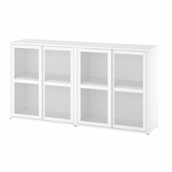 IVAR Cabinet with doors, white mesh, 160x30x83 cm
