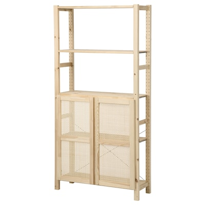 IVAR Shelving unit with doors, pine, 89x30x179 cm