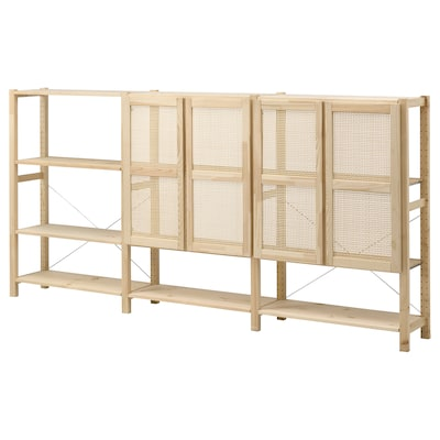 IVAR Shelving unit with doors, pine, 259x30x124 cm