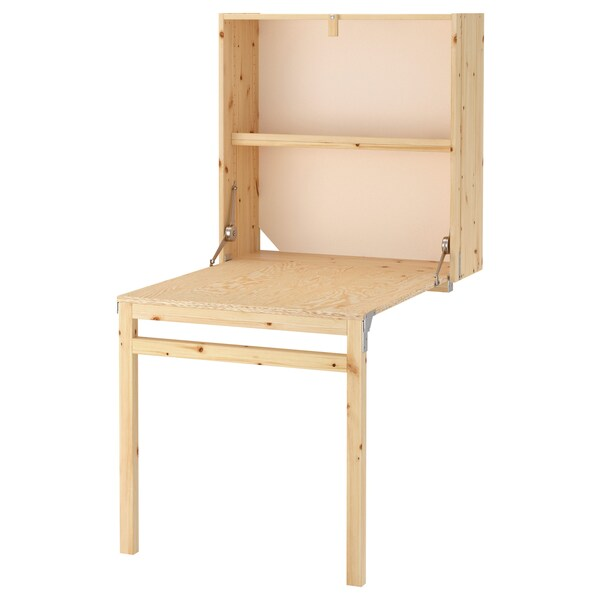IVAR Storage unit with foldable table, pine, 80x30-104x155 cm