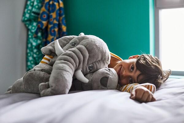 JÄTTESTOR Soft toy, elephant/grey