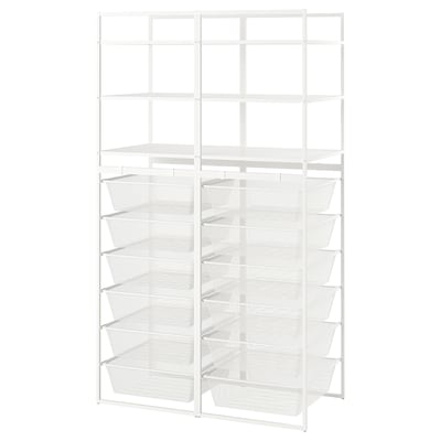 JONAXEL Frame/mesh baskets/shelving units, white, 99x51x173 cm