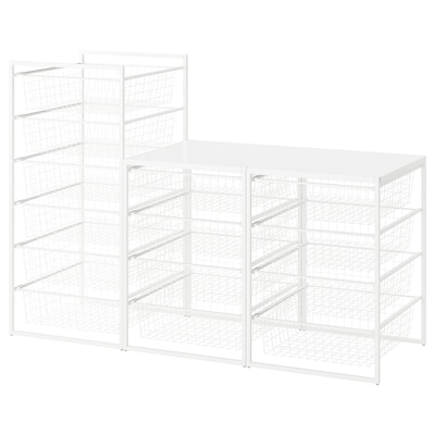 JONAXEL Frame/wire baskets/top shelves, white, 148x51x104 cm