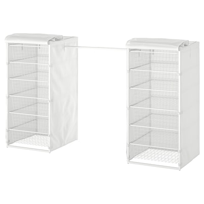 JONAXEL Frame/wire bskts/clothes rls/cover, white, 142-178x51x104 cm