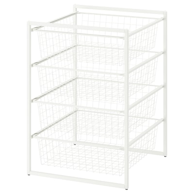 JONAXEL Frame with wire baskets, white, 50x51x70 cm
