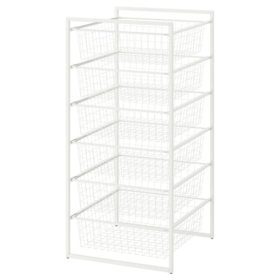 JONAXEL Frame with wire baskets, white, 50x51x104 cm