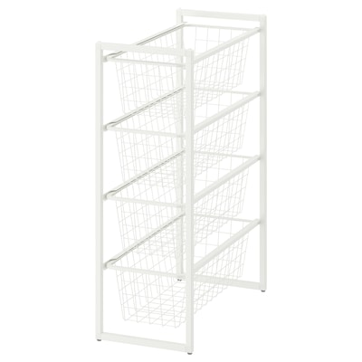 JONAXEL Frame with wire baskets, white, 25x51x70 cm