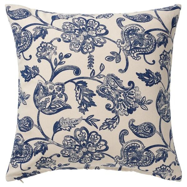 JUNIMAGNOLIA Cushion cover, natural/blue, 50x50 cm