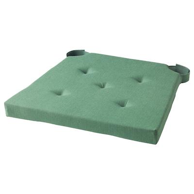 JUSTINA Chair pad, green, 42/35x40x4 cm