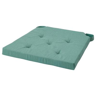 JUSTINA Chair pad, grey-turquoise, 42/35x40x4 cm