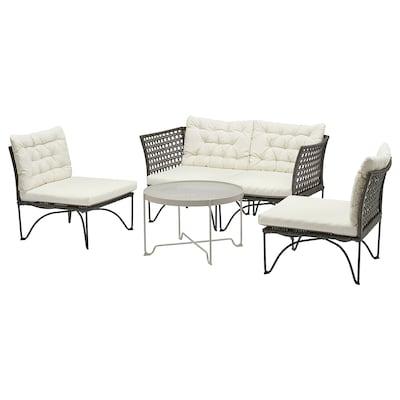 JUTHOLMEN 4-seat conversation set, outdoor dark grey/Kuddarna beige