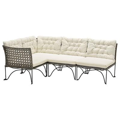 JUTHOLMEN modular corner sofa 3-seat, outdoor dark grey/Kuddarna beige 73 cm 71 cm