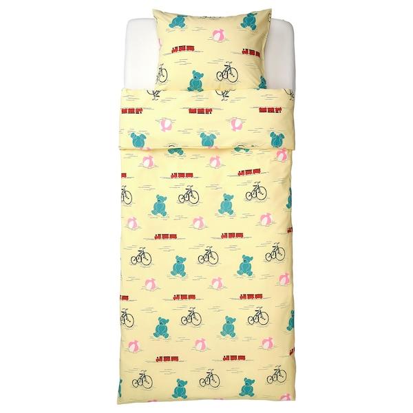 KÄPPHÄST Quilt cover and pillowcase, toys yellow, 150x200/50x80 cm