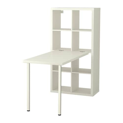 Kallax desk combination white ikea for Meuble bureau etagere